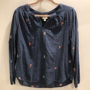 ST. JOHN'S  BAY long sleeve blue blouse